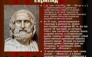 Сочинения об авторе еврипид