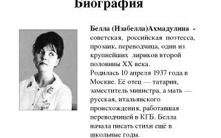 Краткая биография ахмадулина