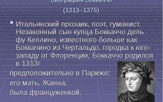 Краткая биография боккаччо