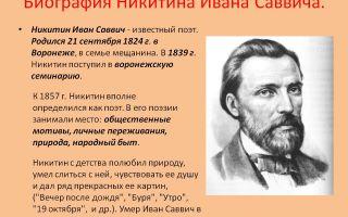 Краткая биография никитин