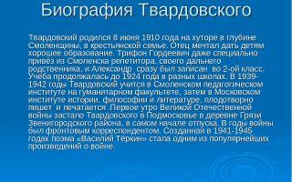 Краткая биография твардовский