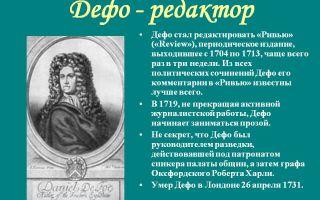 Сочинения об авторе дефо