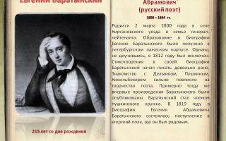 Сочинения об авторе баратынский