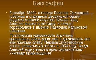 Краткая биография апухтин