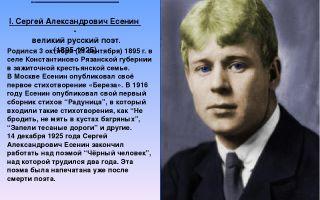 Сочинения об авторе есенин