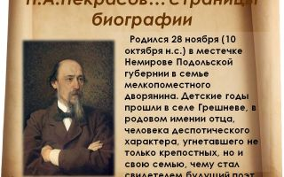 Краткая биография некрасов н. а.