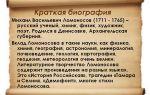 Краткая биография ломоносов