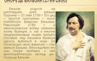 Краткая биография бальзак