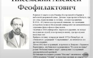Краткая биография писемский