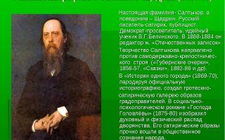 Краткая биография салтыков-щедрин