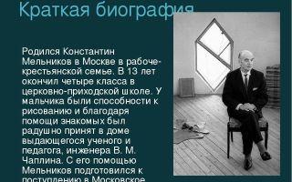 Краткая биография мельников