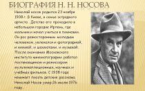 Краткая биография носов н. н.
