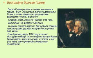 Краткая биография гримм