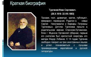 Краткая биография тургенев