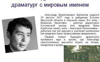 Краткая биография вампилов