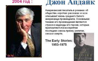 Сочинения об авторе апдайк