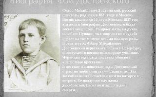 Краткая биография достоевский